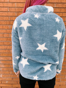 Hem And Thread Fashion Sweaters Star Gazer Quarter Zip Pullover - Baby Blue