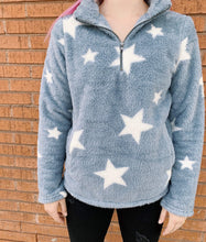 Load image into Gallery viewer, Hem And Thread Fashion Sweaters Star Gazer Quarter Zip Pullover - Baby Blue