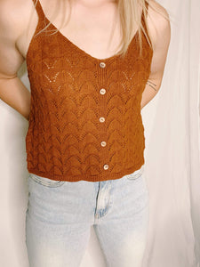 Cinnamon Button Knit Cami