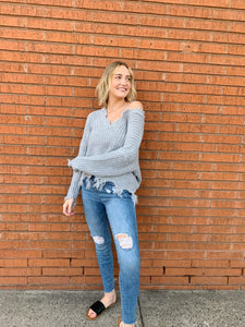 Avery Distressed Hem V-Neck Sweater - Gray