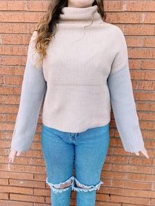 Miracle Fashion Sweaters Cameron Color Block Sweater - Neutral