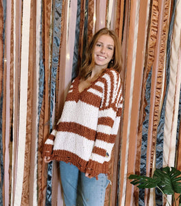 Miracle Fashion Sweaters Chenille V-neck Stripe Sweater - Rust