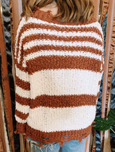Load image into Gallery viewer, Miracle Fashion Sweaters Chenille V-neck Stripe Sweater - Rust
