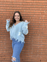 Load image into Gallery viewer, Miracle Fashion Sweaters Lighting Bolt Fray Hem Sweater - Baby Blue