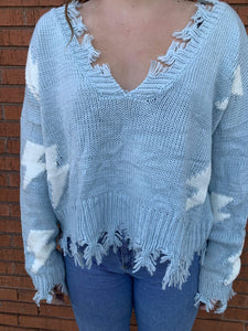 Miracle Fashion Sweaters 0909 Swtr FrayHm lghtblts Blu