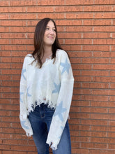 Load image into Gallery viewer, Miracle Fashion Sweaters Starly Fray Hem Sweater - Ivory and Blue