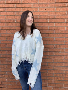 Miracle Fashion Sweaters Starly Fray Hem Sweater - Ivory and Blue