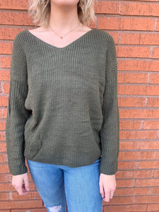 Willow Knot Back Sweater - Olive