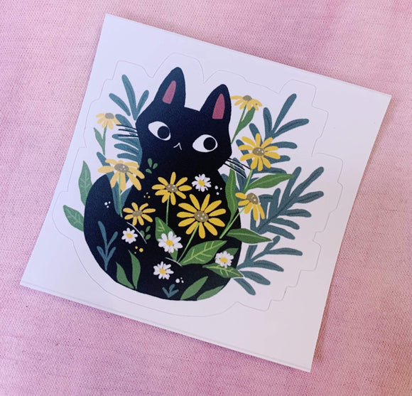Red Bubble sticker Cat and Flowers Sticker