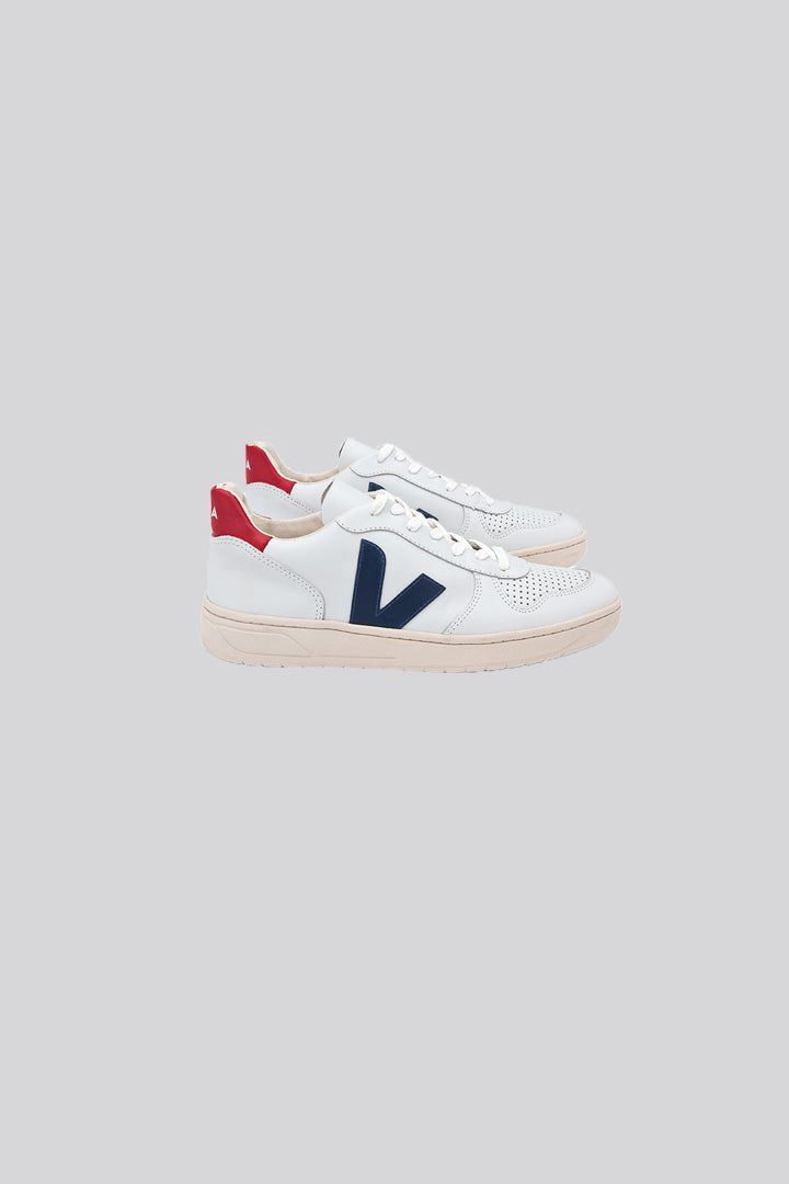 VEJA:  V10 LEATHER EXTRA WHITE NAUTICO PEKIN