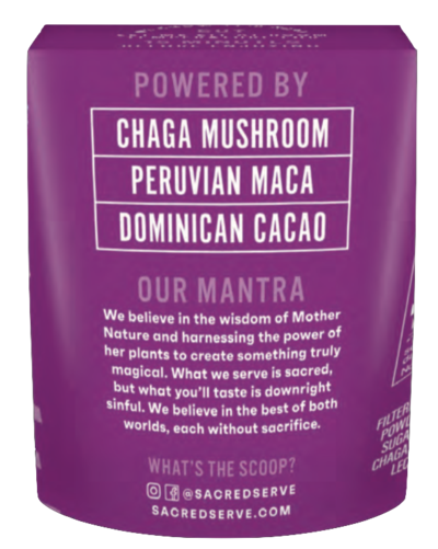 Chaga Chocolate Plant-Based Gelato by Sacred Serve with Chaga Mushroom, Peruvian Maca, and Dominican Cacao