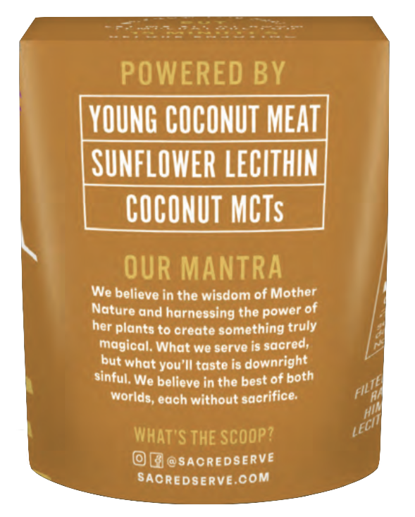 Coconut Salted Caramel Plant-Based Gelato by Sacred Serve with Young Coconut Meat, Sunflower Lecithin, and Coconut MCTs