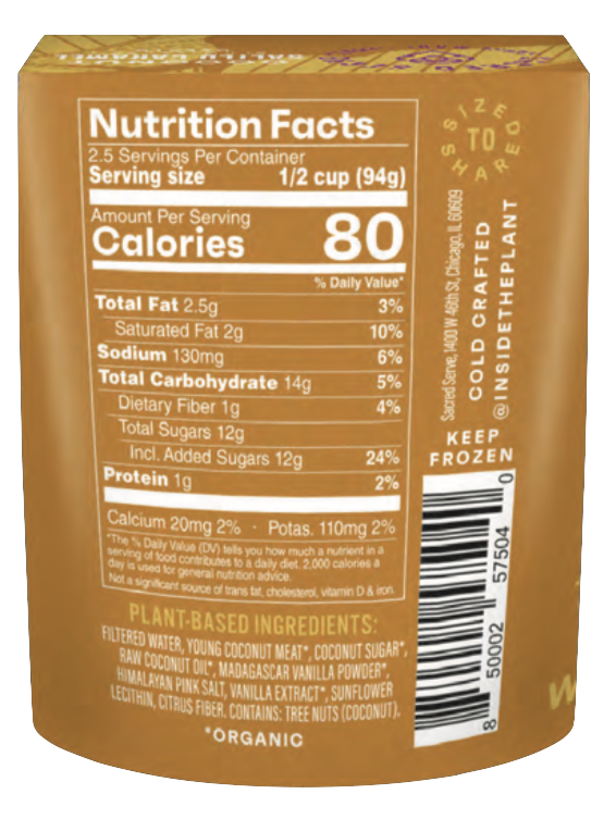 Coconut Salted Caramel Plant-Based Gelato by Sacred Serve Nutrition Facts