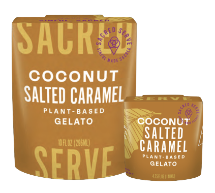 Coconut Salted Caramel Plant-Based Gelato by Sacred Serve in 10oz and 4.75oz