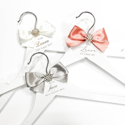 Personalised engraved hanger with ribbon and embellishment