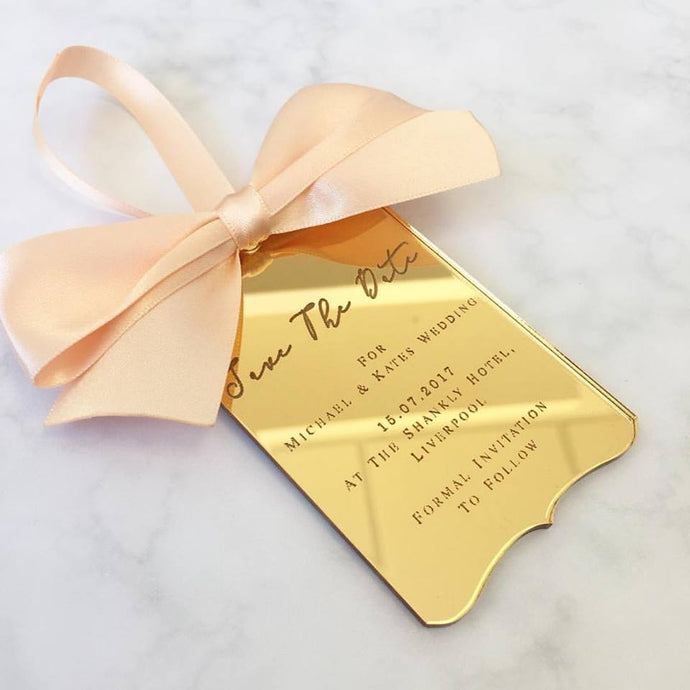 Save The Date Engraved Tags with Ribbon