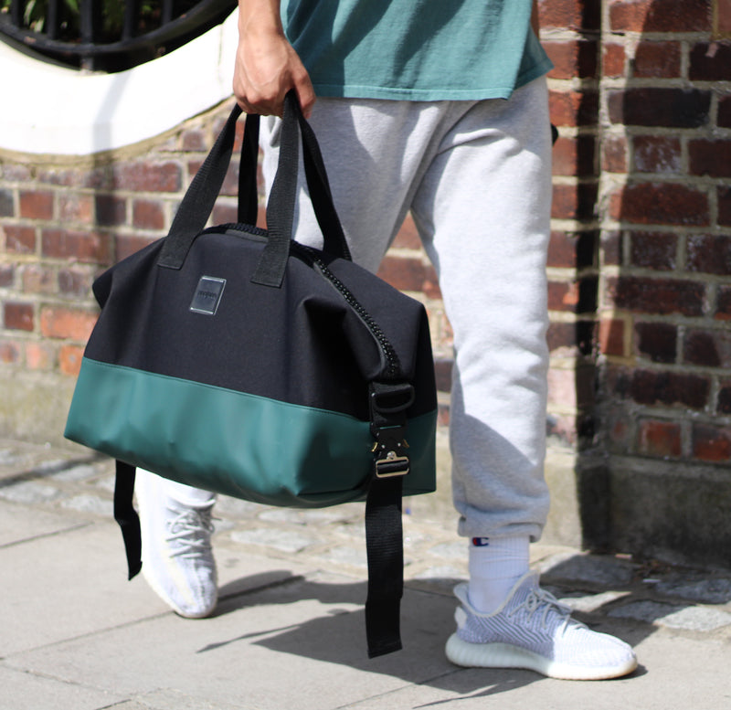 black and green gym bag