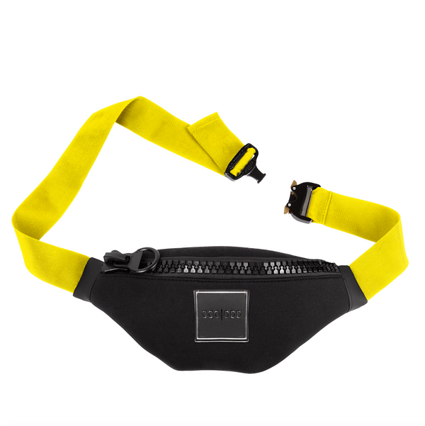 cool black sporty bum bag yellow