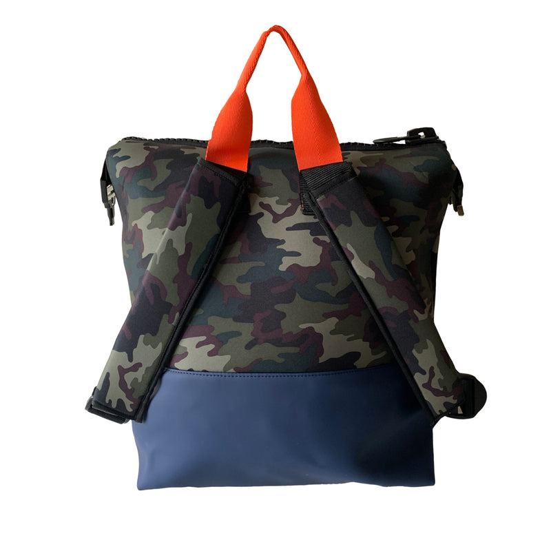 mens camo print backpack
