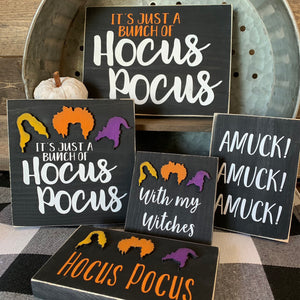 With my Witches Hocus Pocus 3D Wood Signs | Halloween sign | Mini wood sign | Halloween Decor | Trick or Treat | October Sign | Three tier d