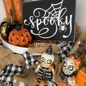 Black 3d Spooky Wood Sign | Halloween sign | Mini wood sign | Halloween Decor | Trick or Treat | October Sign | Tiered Tray decor