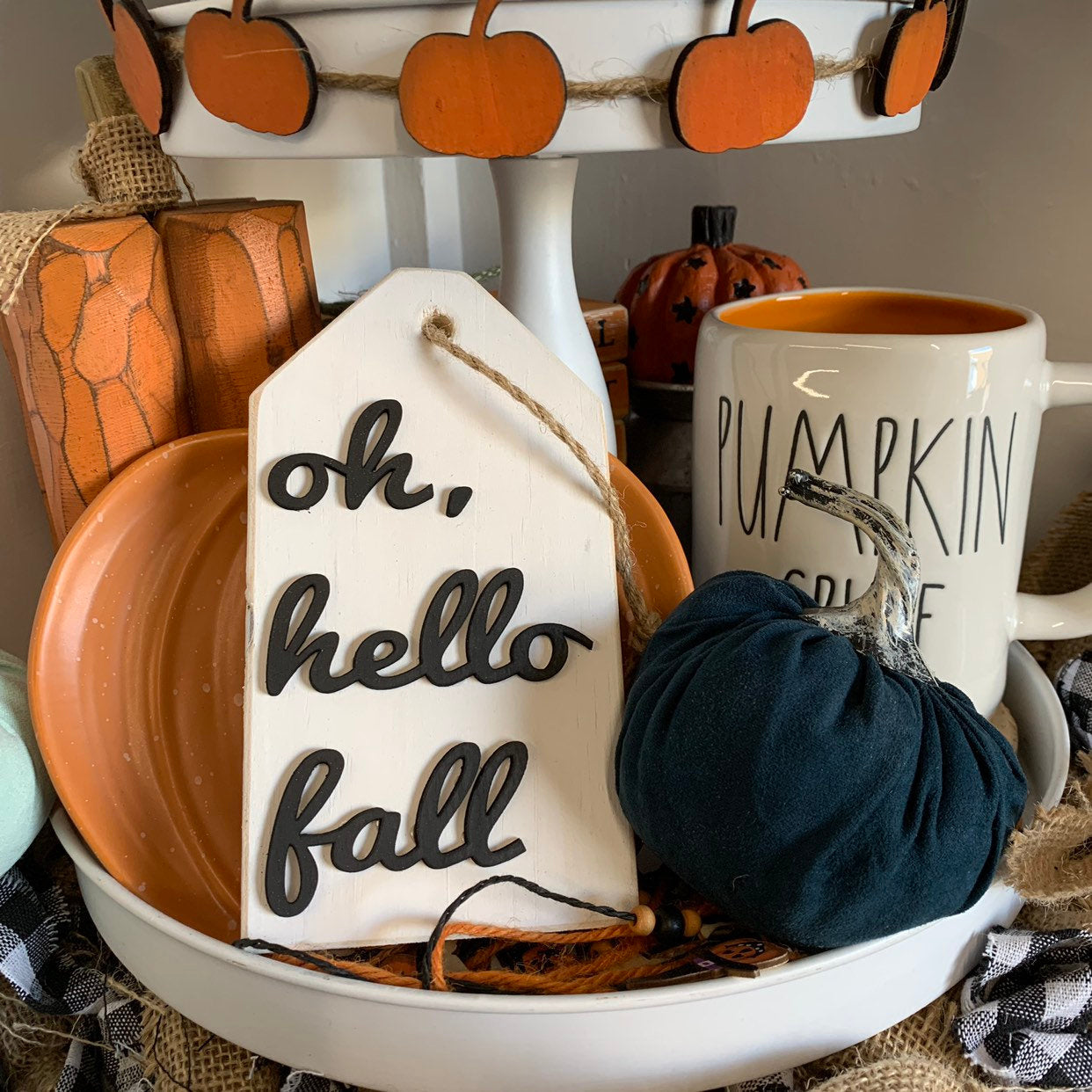 Oh Hello Fall Wooden Tag 3D Wood Sign | Fall sign | Small wood sign | Decor | Fall Decor | October November Sign | tired tray