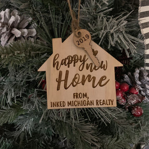 Happy New Home | Ornament | Buyer Gift | Realtor | New Home | Wood Ornament | Engraved |  Personalized