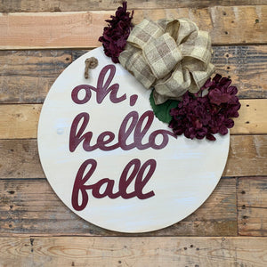 oh Hello Fall door hanger | Fall Door Hanger | Door Wreath | Farmhouse Fall Decor | Round Door Hanger | Door Decoration