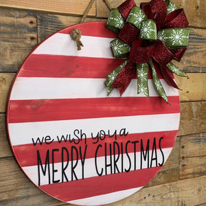 We wish you a Merry Christmas door hanger | Christmas Door Hanger | Door Wreath | Farmhouse Christmas Decor | Round Door Hanger | Door Decor