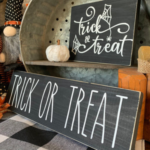 Trick or Treat Web hand painted Wood Signs | Halloween sign | Mini wood sign | Halloween Decor | Trick or Treat |  Three tier decor