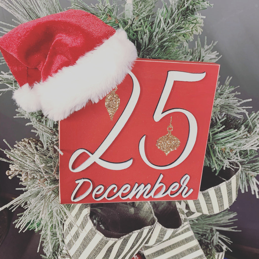 25 December Christmas Red 3D Wood Sign | Christmas sign | Small wood sign | Christmas Decor | Christmas | December