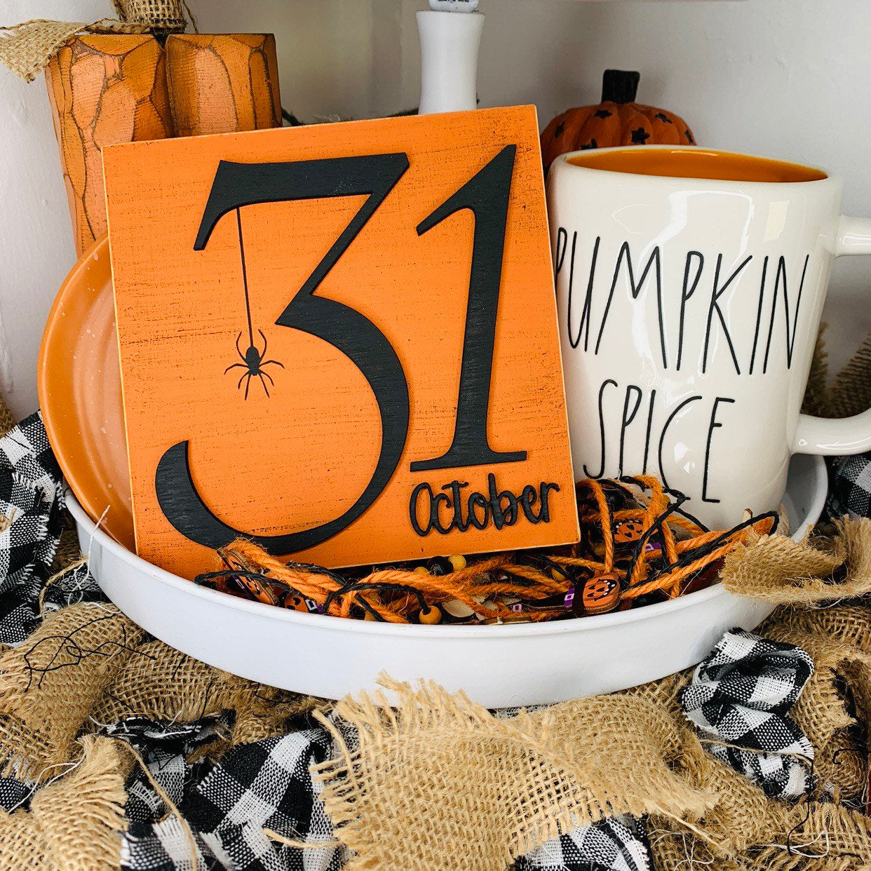 October 31st Orange 3D Wood Sign | Halloween sign | Small wood sign | Halloween Decor | Trick or Treat | October Sign