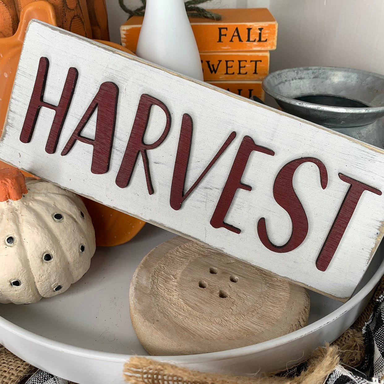 Harvest Block White 3D Wood Sign | Fall sign | Small wood sign | Decor | Fall Decor | October November Sign | Rae Dunn Font | Tiered Tray