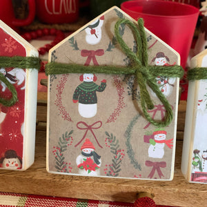 Tiny Christmas Themed Wood House Christmas Decor | Wood house | Tiered Tray Decor | Mini Decor