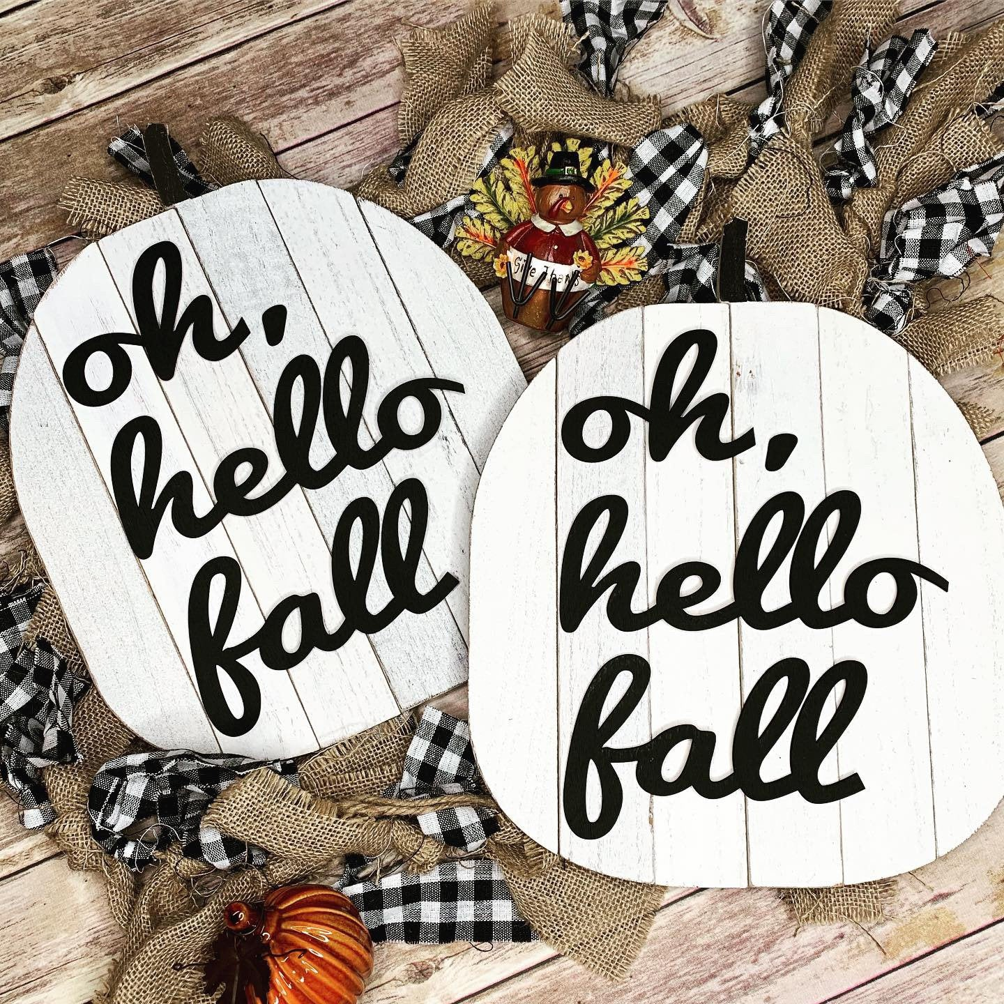 Oh Hello Fall Pumpkin Wooden 3D Sign | Fall sign | Small wood sign | Decor | Fall Decor | October November Sign | Pumpkin Sign