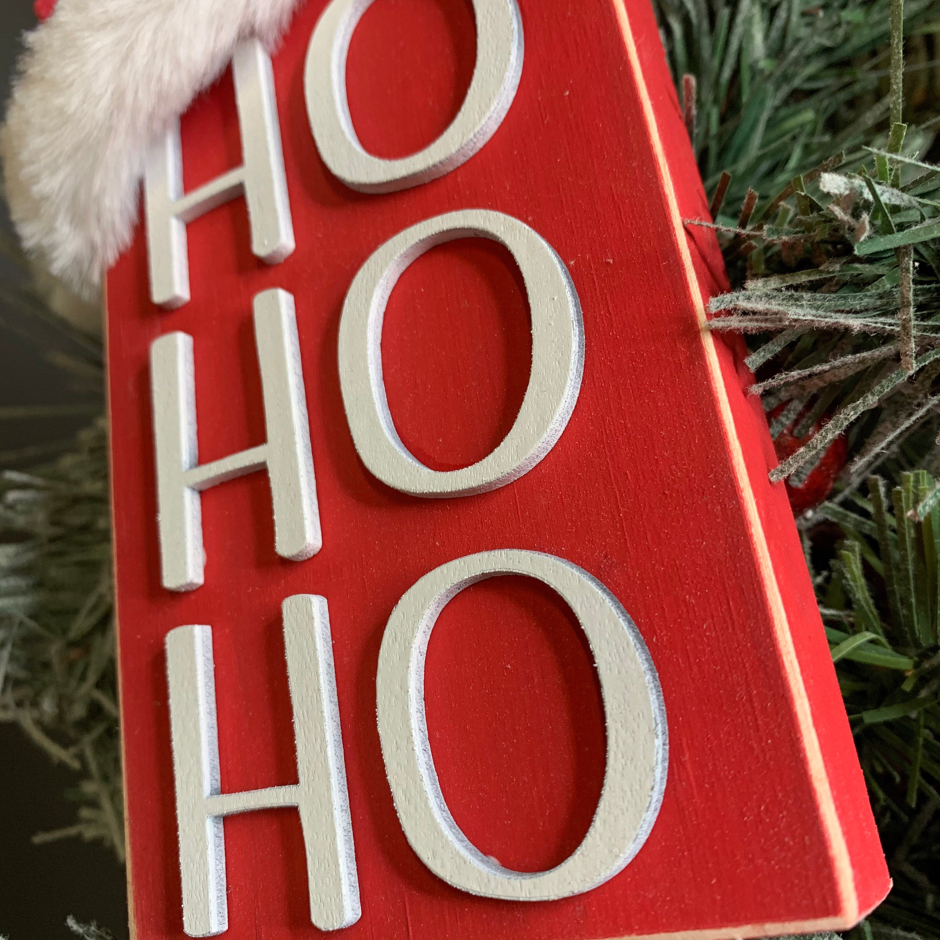 Ho Ho Ho Christmas Red 3D Wood Sign | Christmas sign | Small wood sign | Christmas Decor | Christmas | December Sign | Tiered tray