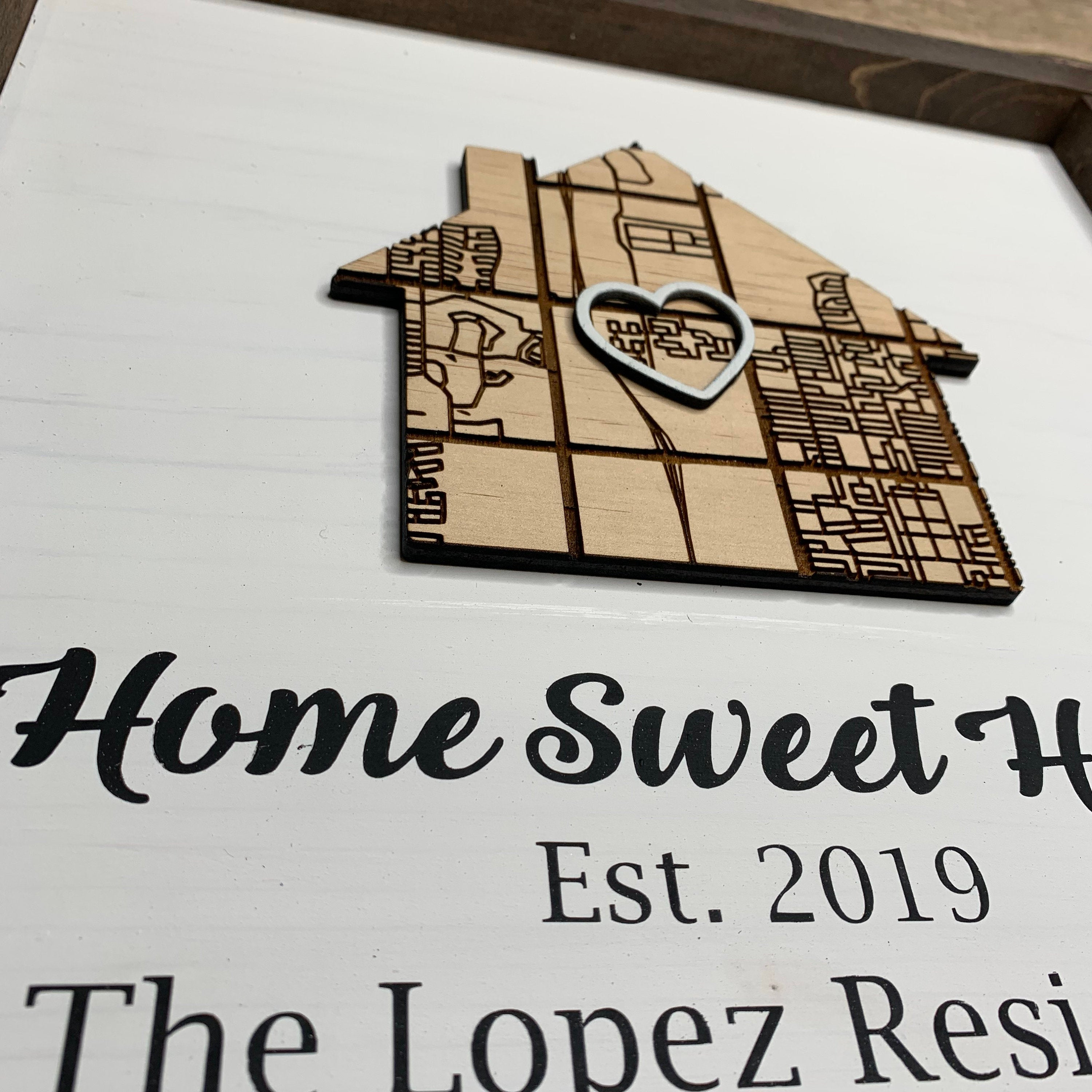 Custom Laser Engraved Map / New Home Closing Gift | Housewarming Gift | Realtor Client Gift | Home Sweet Home