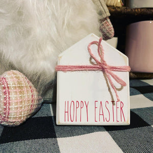 Hoppy Easter Rae Dunn Inspired Small House Wood Sign | Home  sign | Mini wood sign | Home decor Decor | Welcome | Tiered Tray Decor