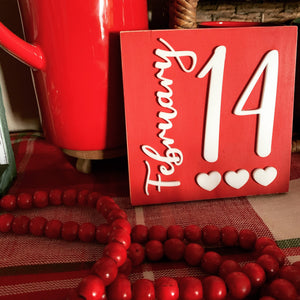 14 February Valentines Red 3D Wood Sign | Valentines sign | Small wood sign | Valentines Decor | Valentines | February Sign | Tiered tray