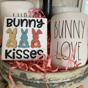 Bunny Kisses 3D Wood Signs | Easter sign | Mini wood sign | Easter Decor | Happy Easter | Spring Sign | Three tier decor