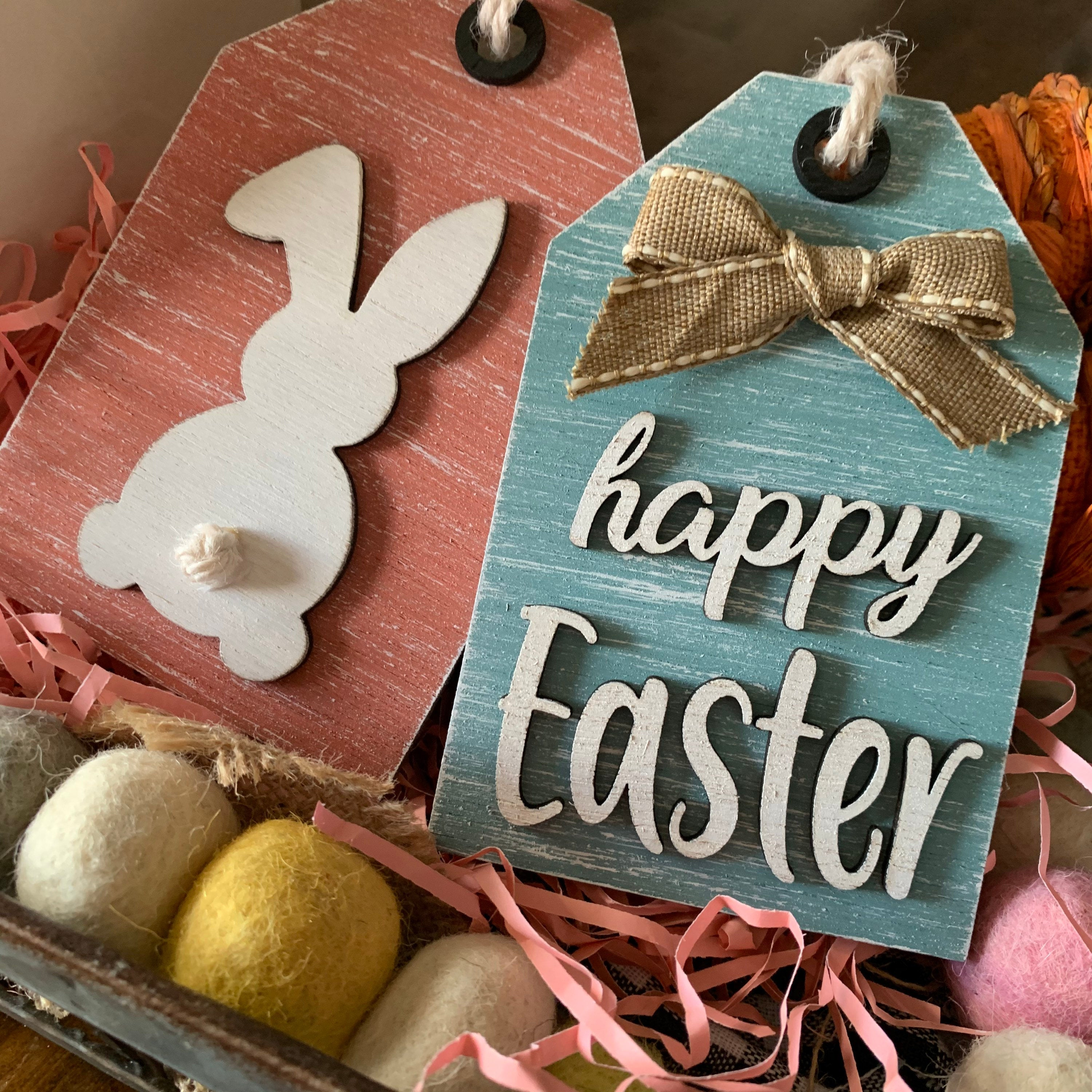 Happy Easter Bunny Tag Set 3D Wood Signs | Easter sign | Mini wood sign | Easter Decor | Happy Easter | Spring Sign | Three tier decor