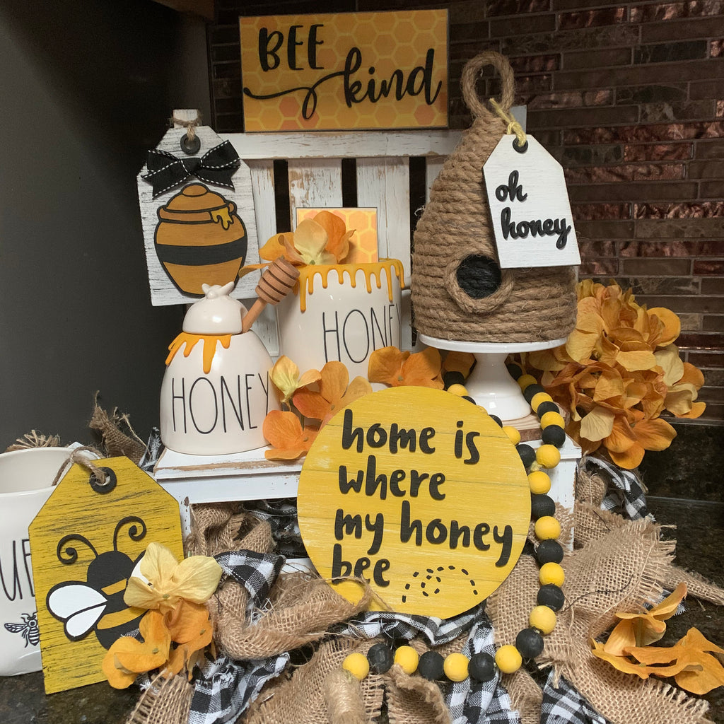 Bee Display Accent 3D Wood Signs | Bee sign | Mini wood sign | Honey Decor | Rae Dunn inspired | Spring Sign | Three tier decor