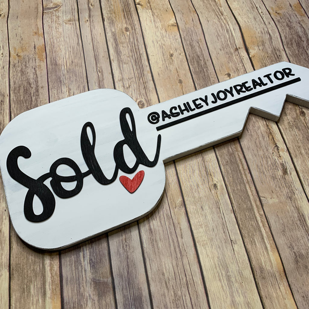 3D Key Sign Sold Cursive | New Home Gift 3D Wood Sign | First Home | Realtor Sign Gift | Home for sale | Closing Gift | Realtor