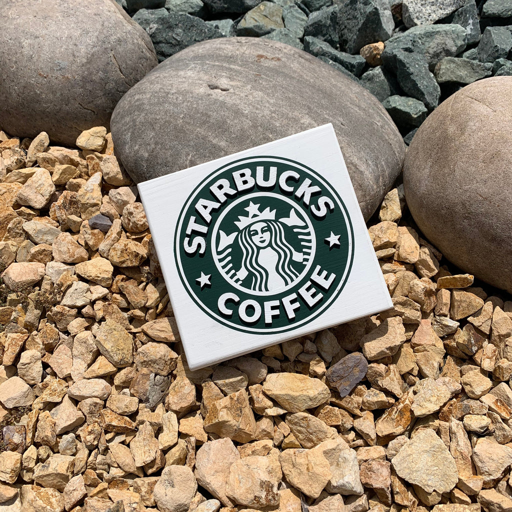 Classic Starbucks inspired 3D Wood Sign | Starbucks  sign | Small wood sign | Coffee Decor | Coffee bAr decor