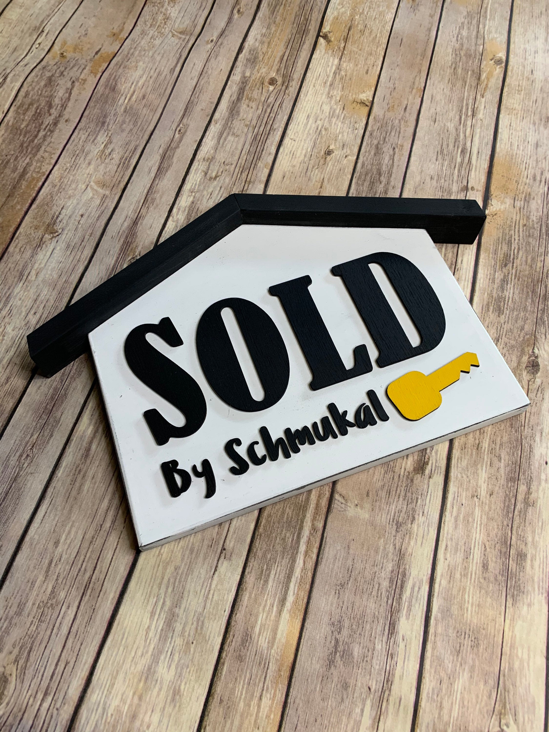 Sold 3D Wood House Sign RUSTIC FINISH | First Home | Realtor Sign Gift | Home for sale | Closing Gift | Photo Prop | Realtor Key Sign