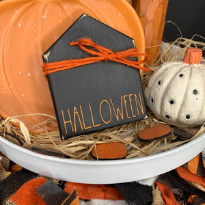 Halloween mini house | Rae Dunn Inspired Small House Wood Sign | Home  sign | Mini wood sign | Welcome | Tiered Tray Decor