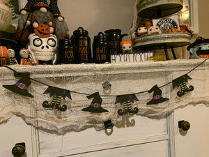 Halloween Witch Wood Banner | Witch Hat Banner | Witch Feet Banner | Halloween Banner
