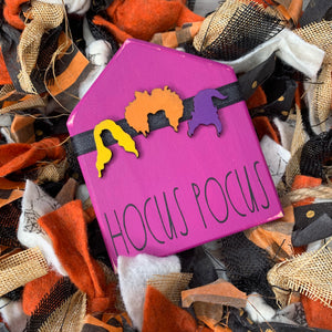 Hocus Pocus witch's mini house with wreath | Rae Dunn Inspired Small House Wood Sign | Mini wood sign | Welcome | Tiered Tray Decor