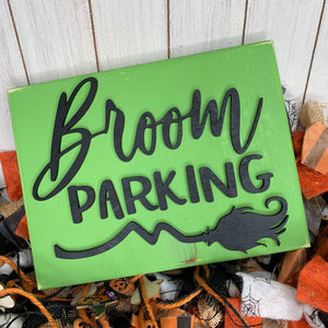 Broom parking witch sign 3D