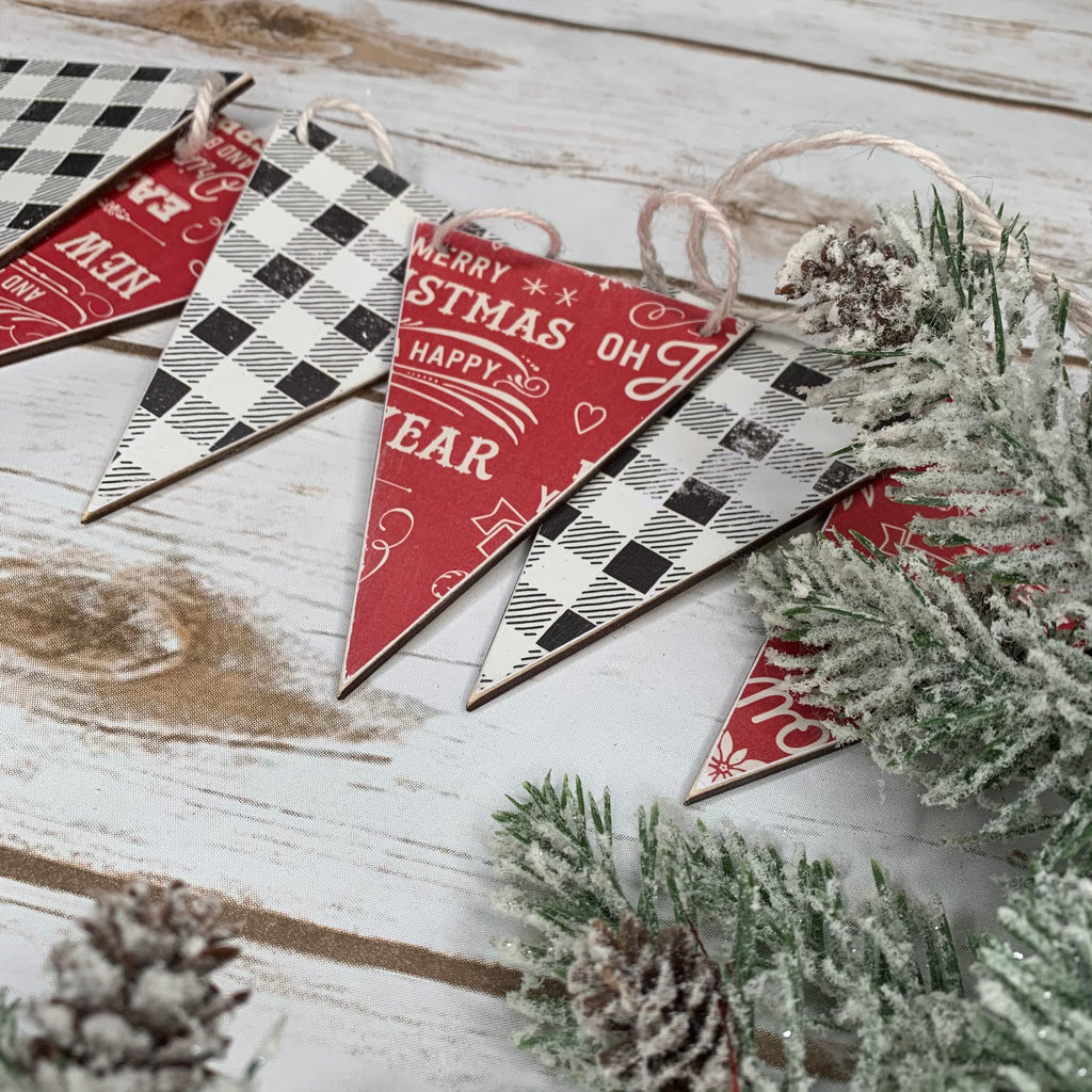 Christmas Buffalo Plaid Wood Banner | Wood Banner